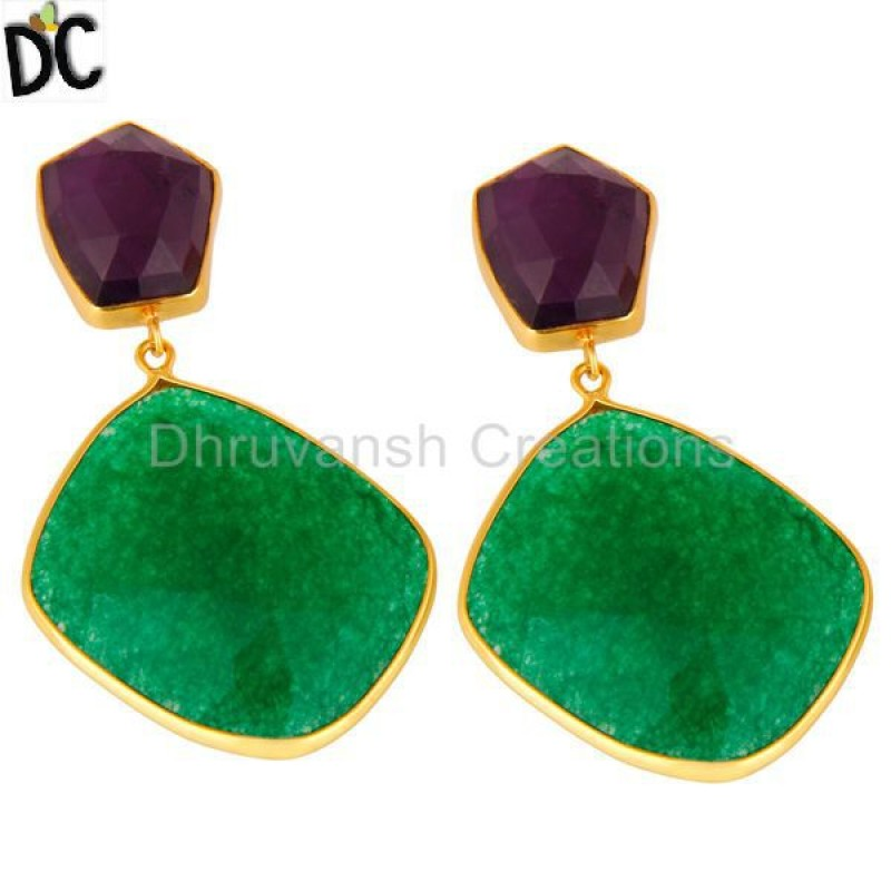Amethyst & Aventurine Gold Plated 925 Silver Earring Manufacturer
