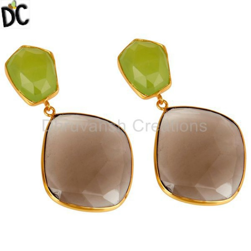 Handmade Gold Plated Multi Gemstone Earring Jewelry Manufacturer