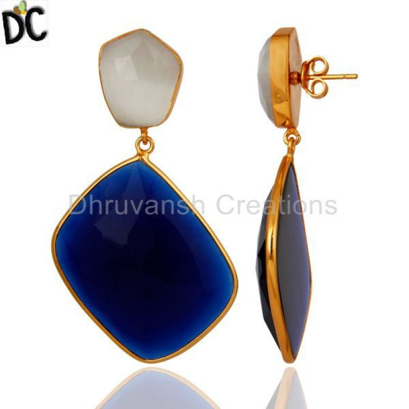 White Moonstone & Corundum Blue Gemstone 925 Silver Earring Supplier