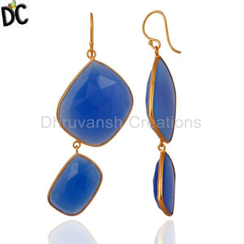 Blue Chalcedony Gemstone Gold Plated Silver Earring Manufacturer