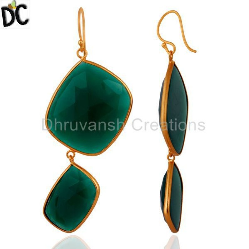 Green Onyx Gemstone Designer 925 Silver Earring Jewelry Manufacturer