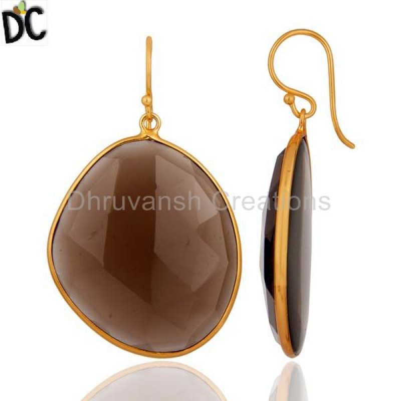 Smoky Quartz Gemstone Earring Gold Plated 925 Silver Jewelry Supplier