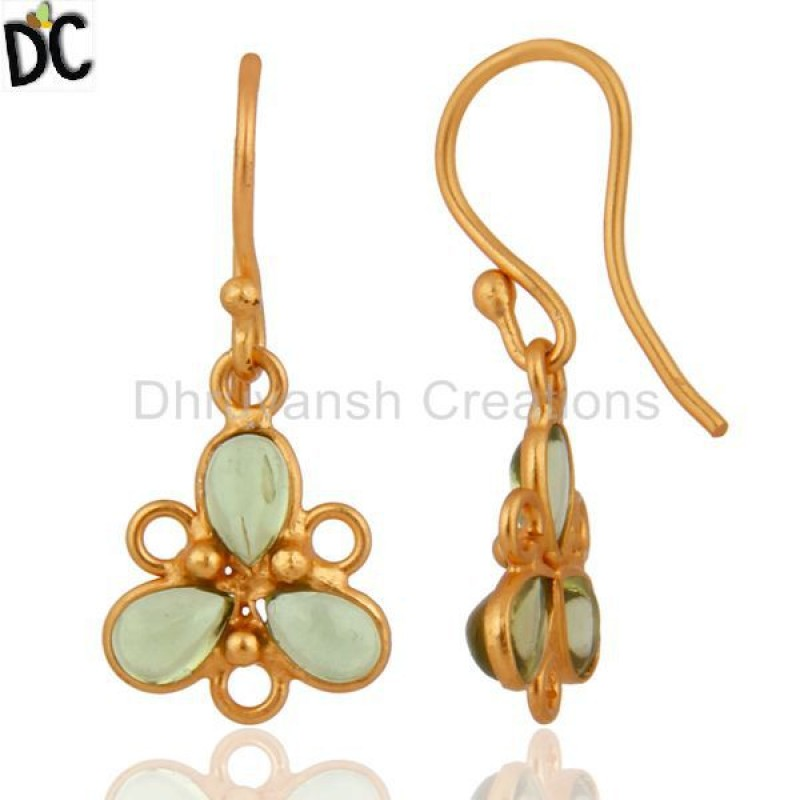 New Arrival Gold Plated 925 Silver Peridot Gemstone Earring Supplier