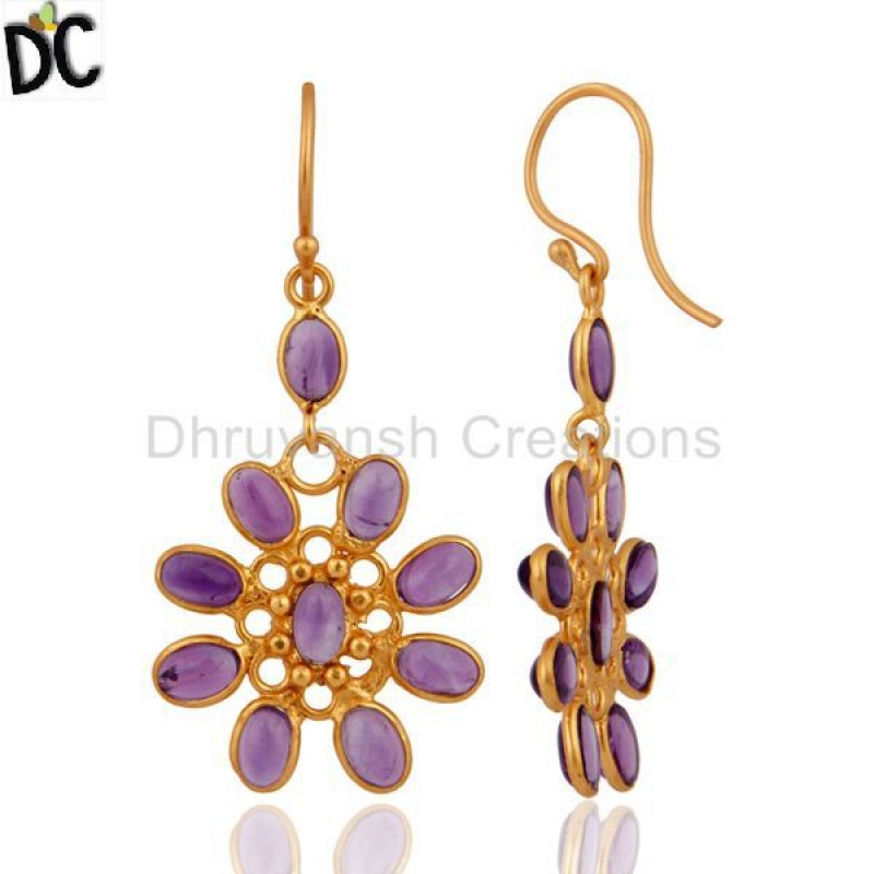 Handmade Gold Plated 925 Silver Amethyst Gemstone Earring Wholesale