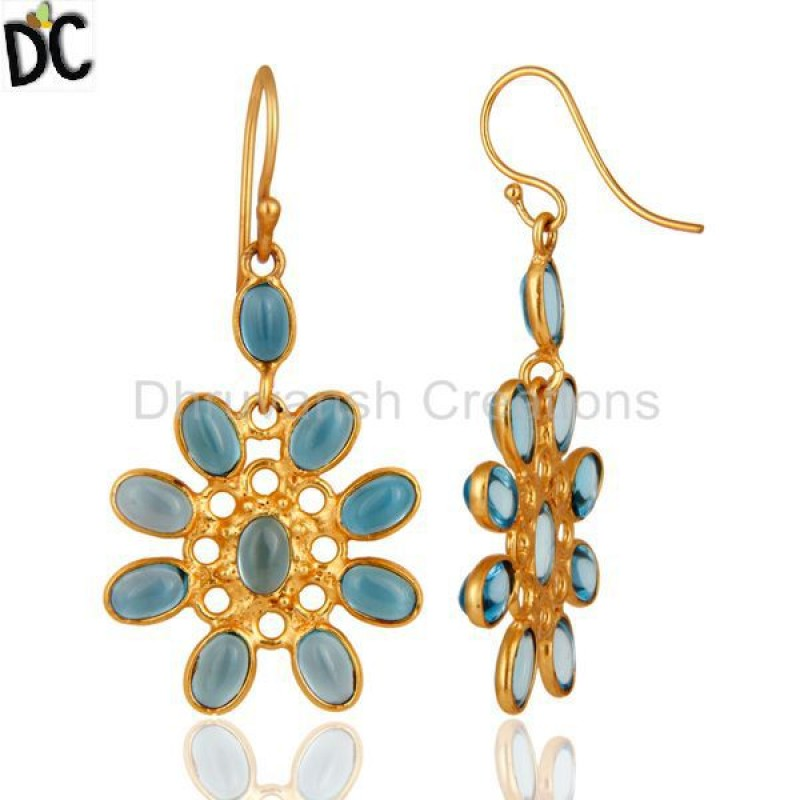 925 Silver Yellow Gold Plated Blue Topaz Gemstone Earring Supplier