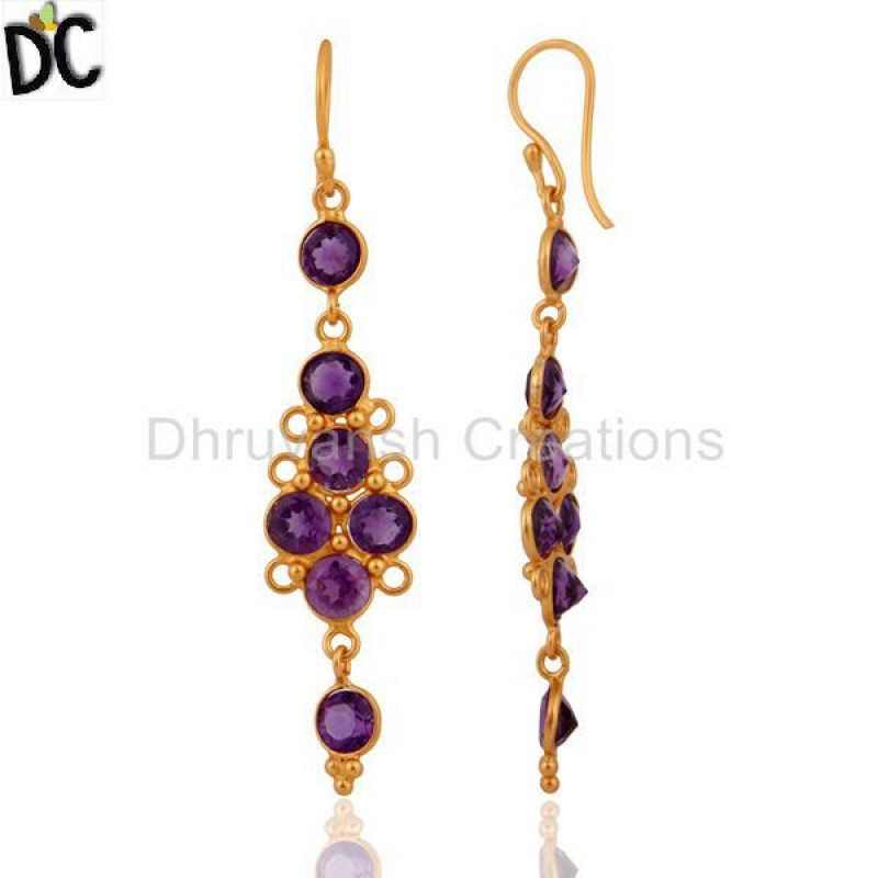 Gold Plated 925 Silver Designer Amethyst Gemstone Earring Suppliers