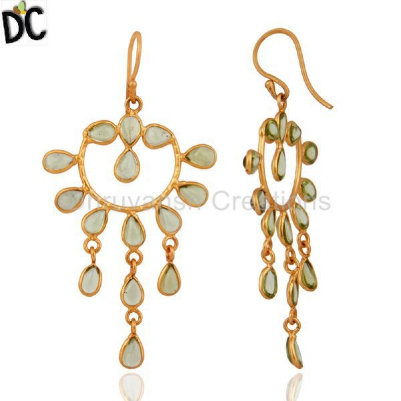 Designer Gold Plated Peridot 925 Silver Gemstone Drop Earring Supplier