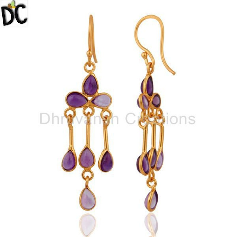 Amethyst Gemstone Gold Plated Jaipur Silver Earring Manufacturer