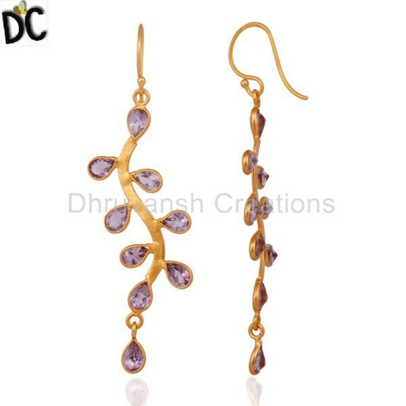 Handcrafted Gold Plated 925 Silver Amethyst Gemstone Earring Supplier