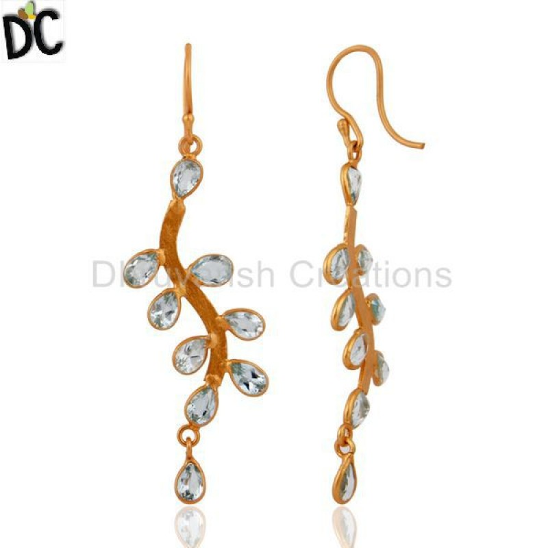 Blue Topaz Gemstone Gold Plated 925 Silver Designer Earring Wholesale