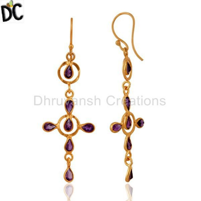 Handmade Gold Palted Silver Amethyst Gemstone Earring Suppliers