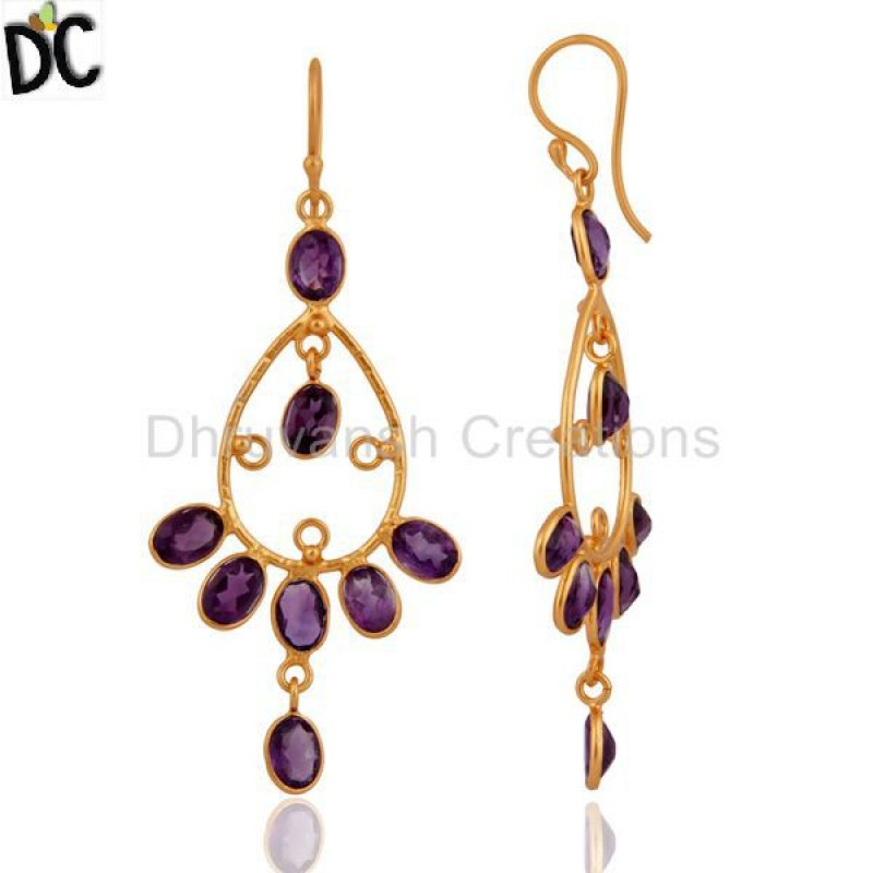 925 Sterling Silver Gold Plated Amethyst Gemstone Earring Wholesale