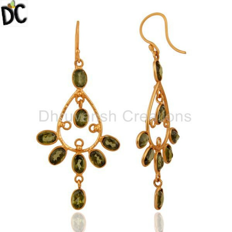 Traditional Gold Plated 925 Silver Peridot Gemstone Earring Wholesale