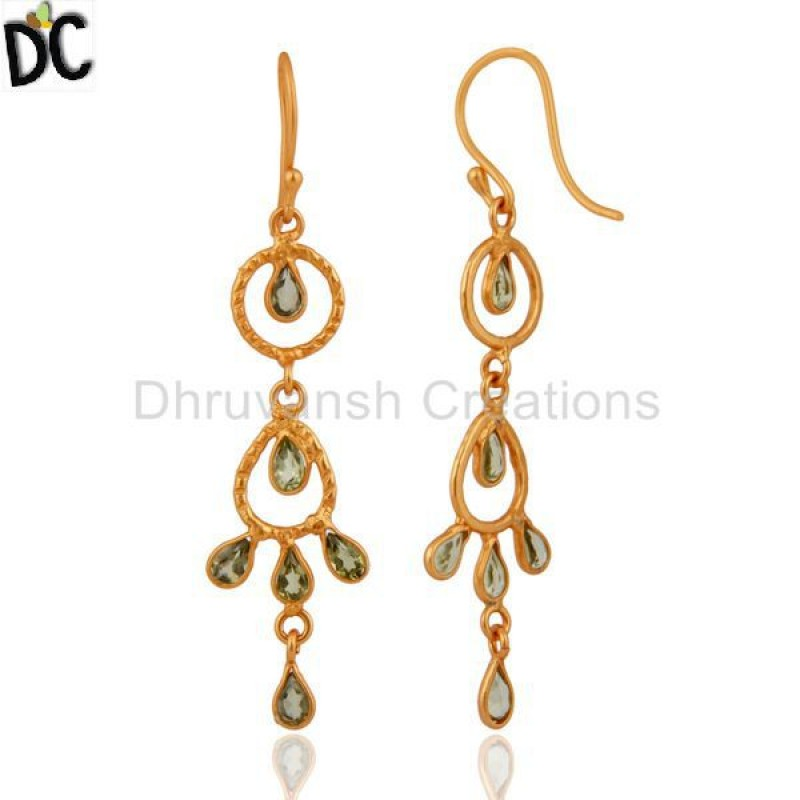 Natural Peridot Gemstone Indian Designer Gold Plated Silver Earring
