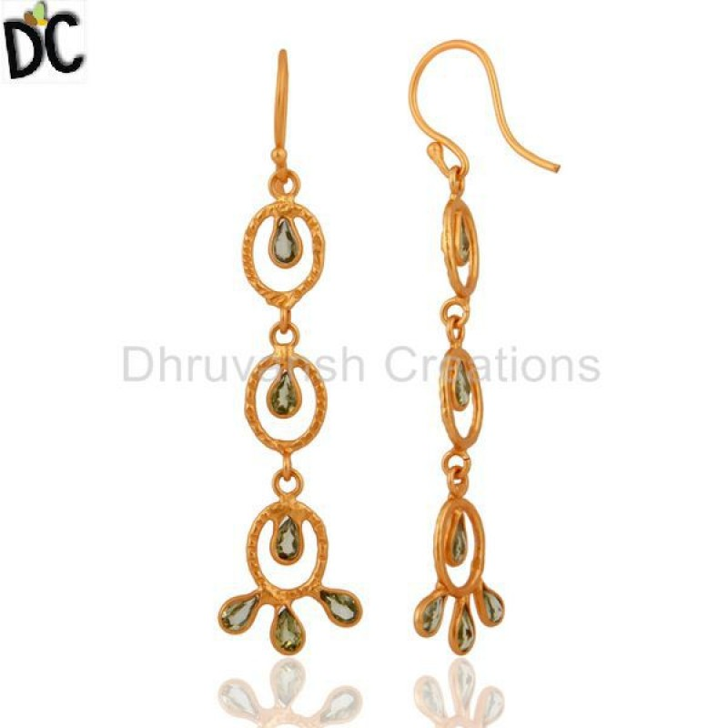 Natural Peridot Gemstone Gold Plated Silver Women Earring Manufacturer