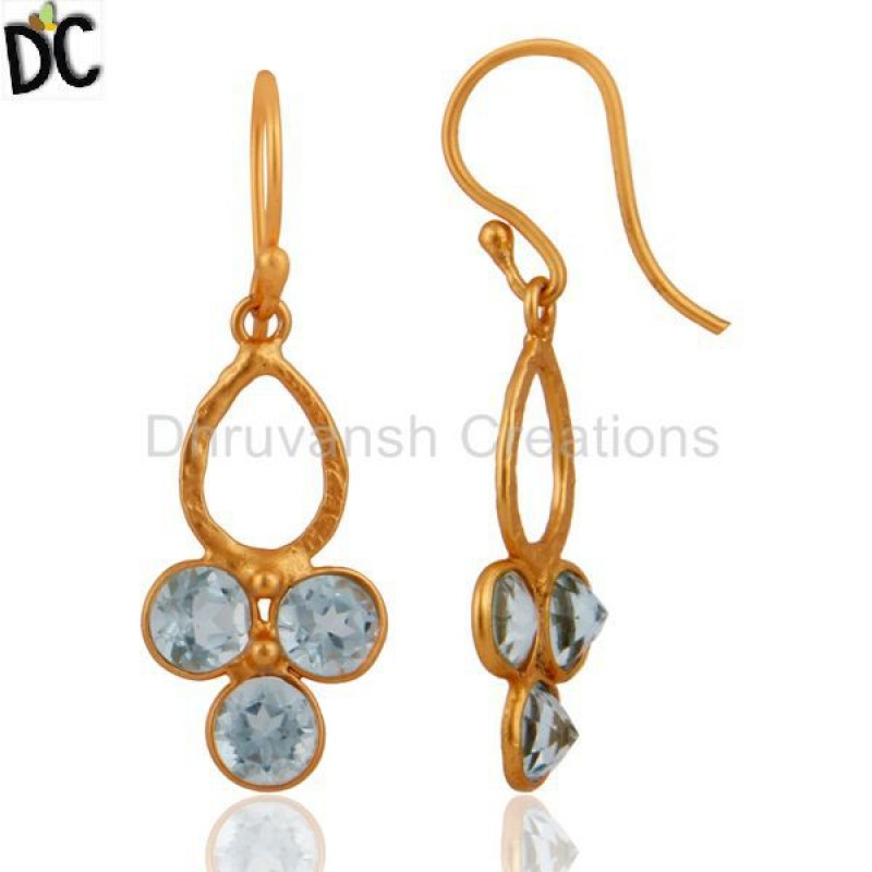 Wholesale Designer Blue Topaz Gemstone 925 Silver Earring Jewelry