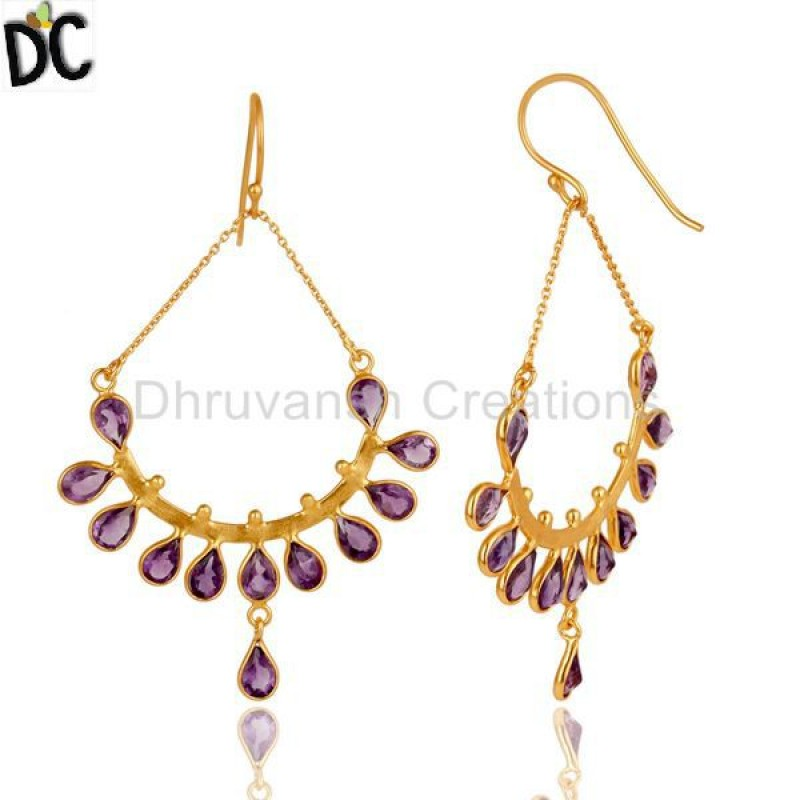 Manufacturer of Gold Plated Silver Amethyst Gemstone Earring Jewelry