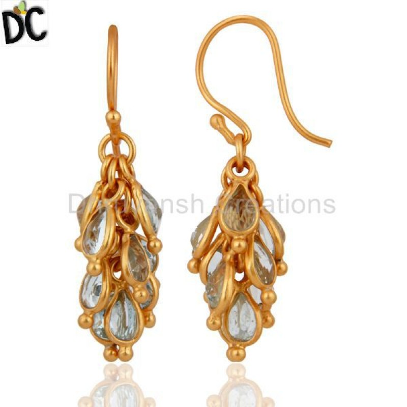 Handmade 925 Silver Gold Plated Blue Topaz Earring Gemstone Jewelry