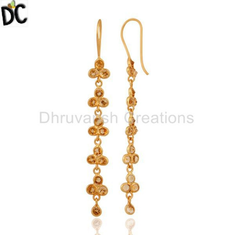 Natural Citrine Gemstone Gold Plated 925 Silver Customized Earring