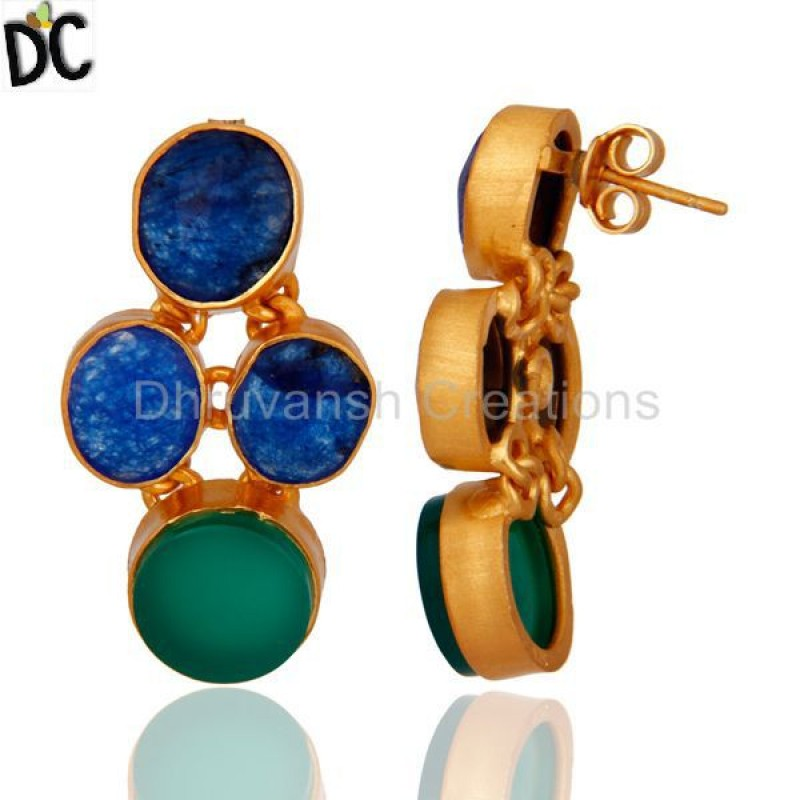 Blue Aventurine & Green Onyx Gemstone 925 Silver Earring Wholesale