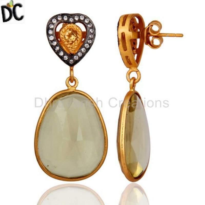 Gold Plated 925 Sterling Silver Citrine Lemon Topaz Gemstone Earring