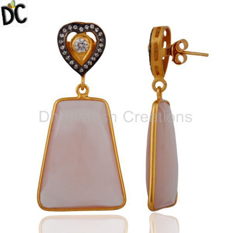 Natural Chalcedony Faceted Gemstone Bezel Set Drop 925 Silver Earring