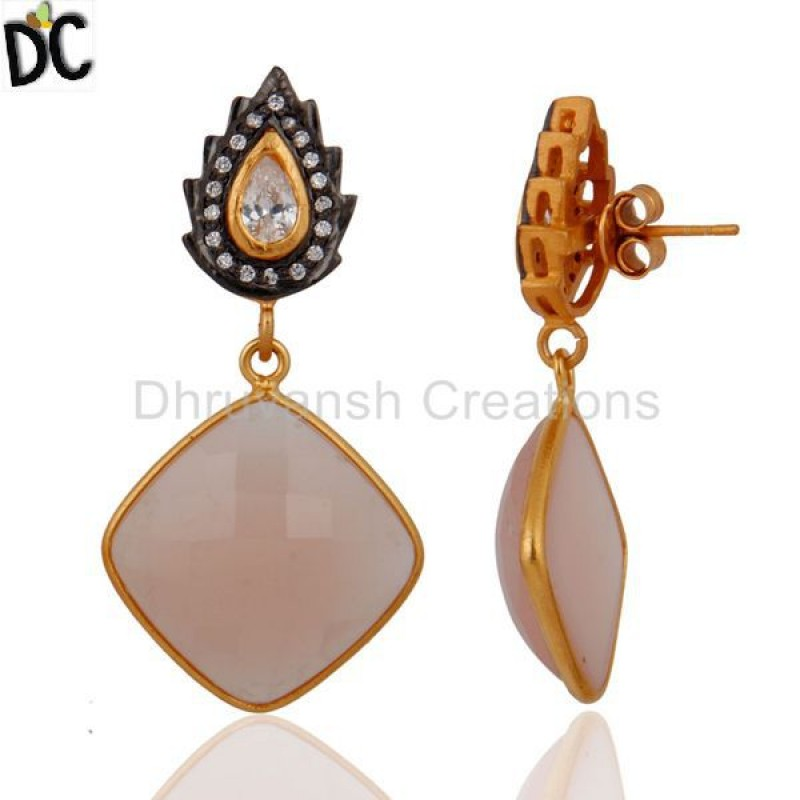 Sterling Silver Gold Plated Cz & Rose Chalcedony Gemstone Earring
