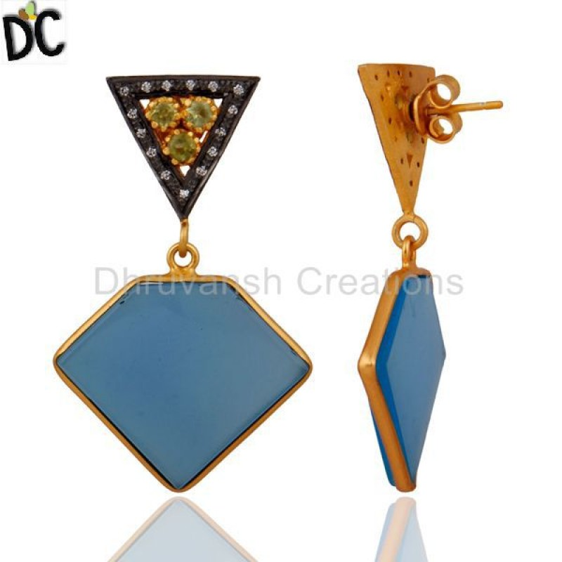 Natural Peridot 925 Sterling Silver Blue Chalcedony Earring Wholesale