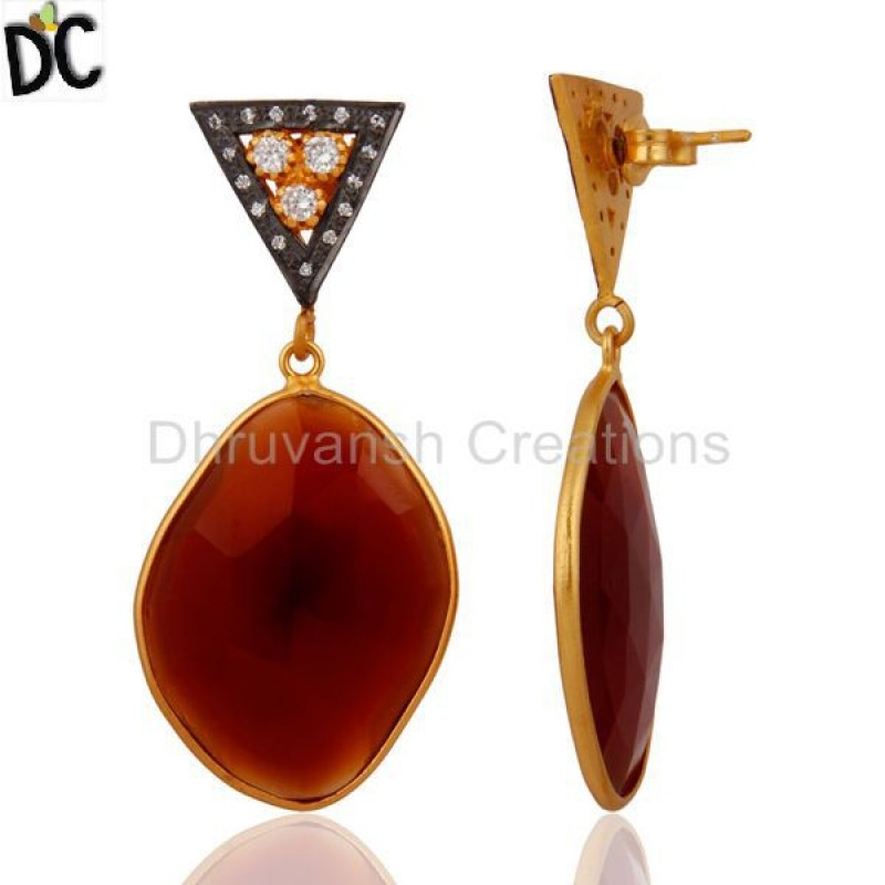 925 Sterling Silver Red Onyx Faceted Gemstone Pave CZ Dangle Earring