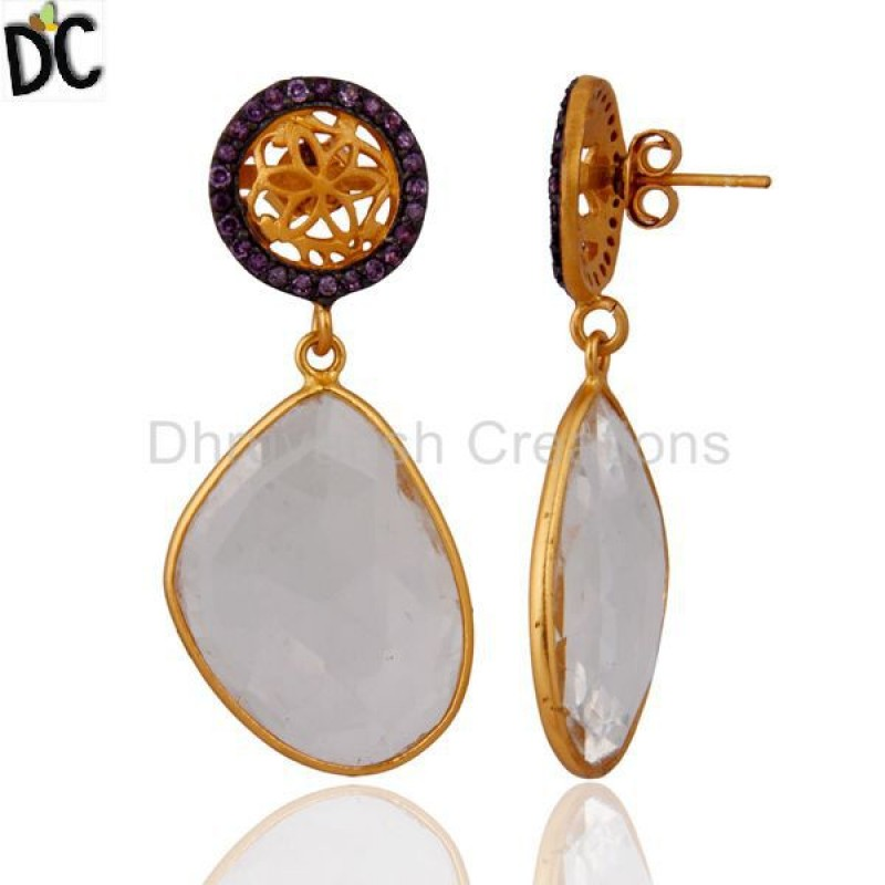 Wholesale Natural Amethyst & Crystal Quartz 925 Silver Women Earring