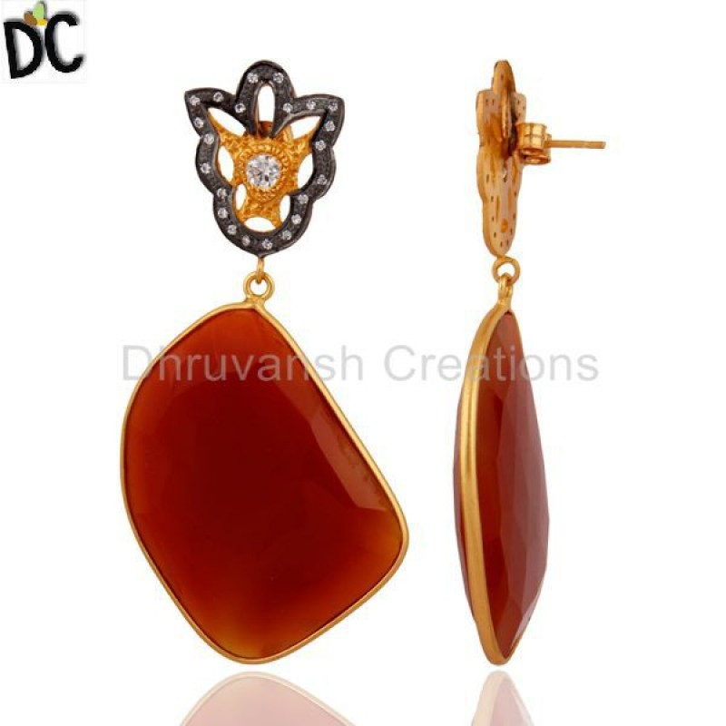 Natural Gemstone Red Onyx Slice Cut Gold Plated 925 Silver Earring