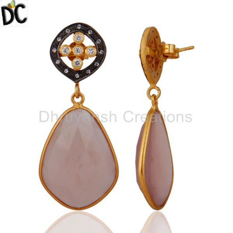 White Cubic Zirconia 925 Silver Gold Plated Chalcedony Earring Supply