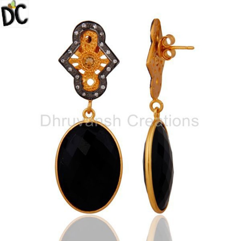 925 Sterling Silver Black Onyx Gold Plated White Zircon Dangle Earring