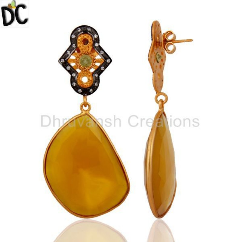 Gold Over 925 Silver Yellow Chalcedony Slice Gemstone Peridot Earring