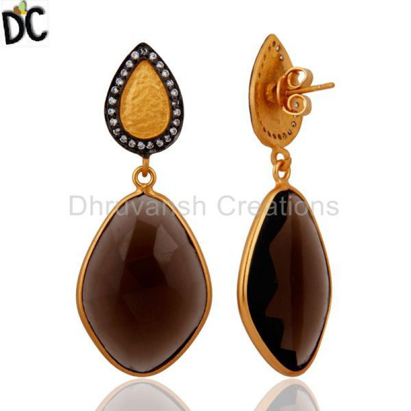 925 Silver Smoky Quartz Earring Gold Plated Wedding Jewelry Wholesale