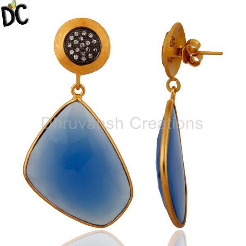 Natural Semi Precious Stone Chalcedony Slice Dangle Earring Wholesale
