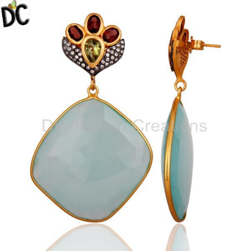 Aqua Chalcedony Faceted Gold over Sterling Silver Gemstone Earring