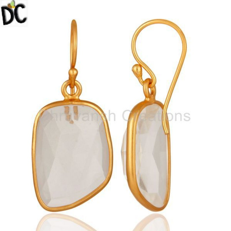 Gold Plated Sterling Silver Natural White Woonstone Bezel Set Earring