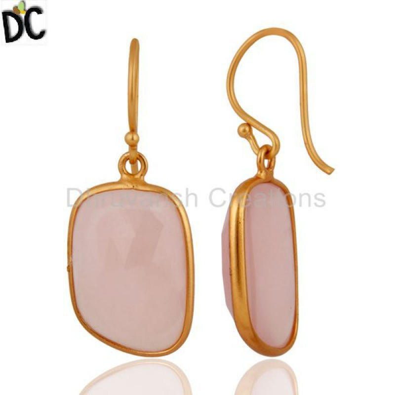 925 Sterling Silver Faceted Rose Chalcedony Gemstone Dangle Earring