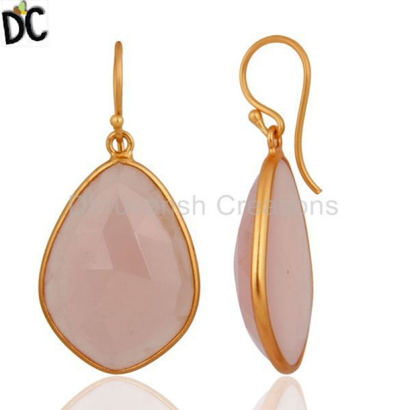 Natural Chalcedony Gemstone Earrings Made In 925 Silver jewelry
