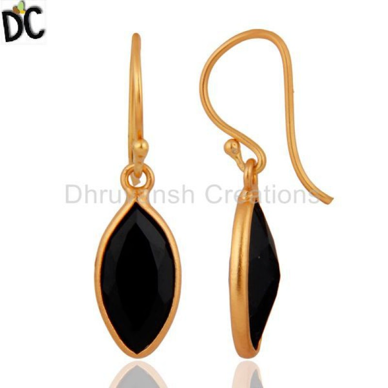 925 Silver Pear Shaped Black Onyx Gold Plated French Wire Earring