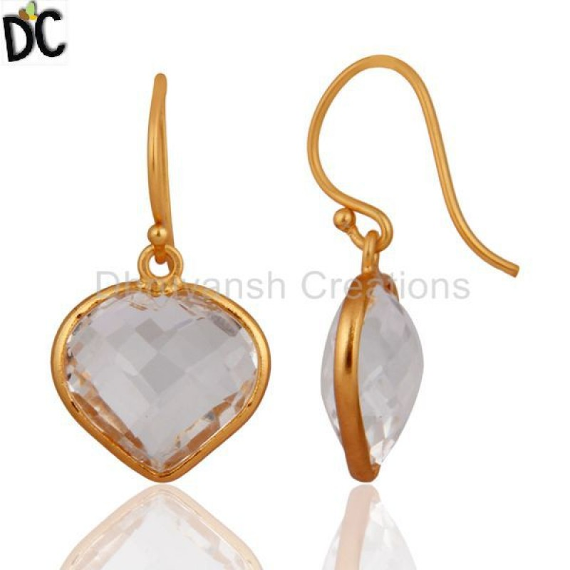Gold Plated 925 Silver Crystal Quartz Heart Gemstone Dangle Earring