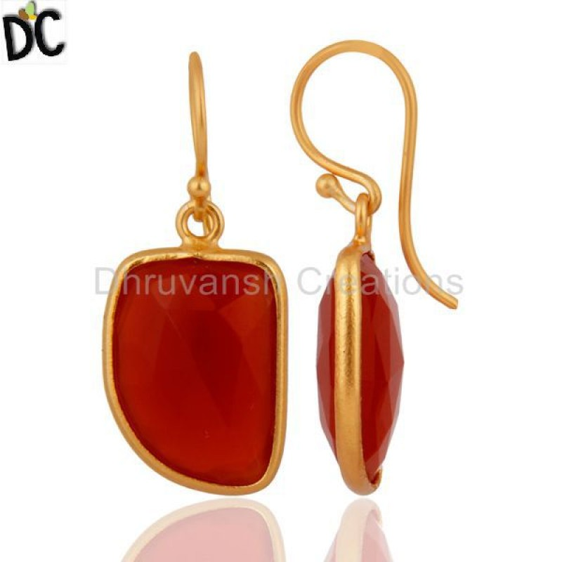 Gemstone Red Onyx Gold Plated Dangle Earrings Sterling Silver Jewelry