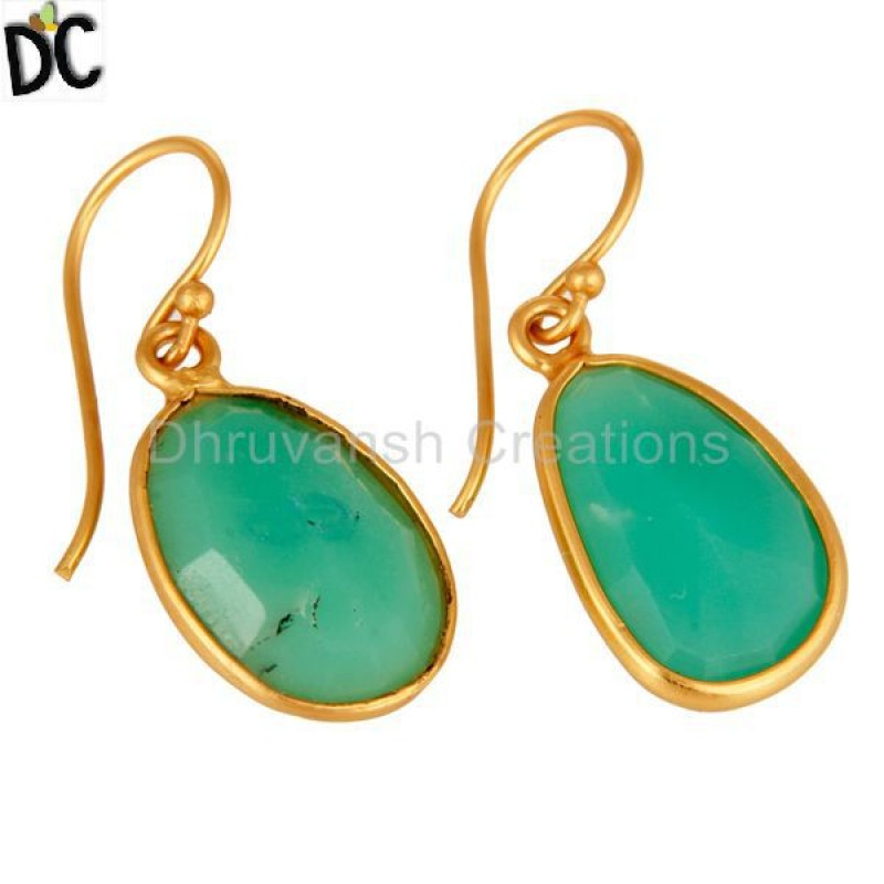 Handmade 925 Sterling Silver Gold Plated Chrysoprase Gemstone Earring