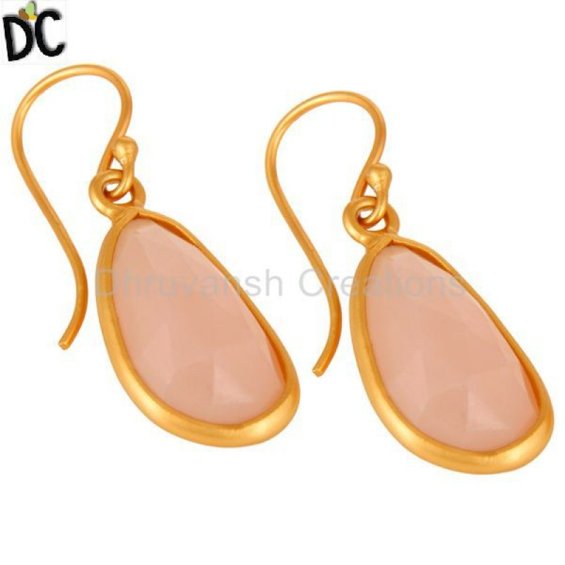 925 Silver Rose Chalcedony 925 Silver Designer Earring Wholesale