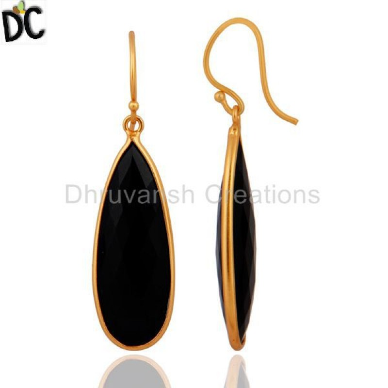 Gold Plated 925 Sterling Silver Black Onyx Gemstone Women Earring