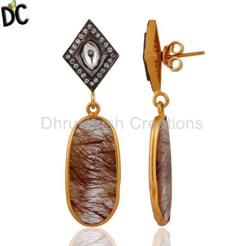 925 Sterling SIlver Rutile Quartz Gemstone Gold Plated Earring Jewelry
