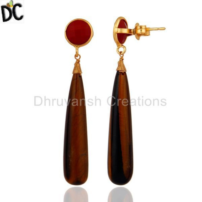 Manufacturer of Red Coral & Tiger Eye Gemstone 925 Silver Earrings