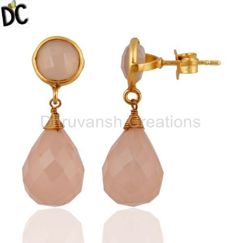 Designer Chalcedony Gemstone Gold Plated Silver Earring Manufacturer