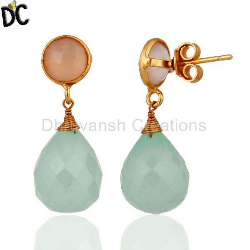 Gold Plated Sterling Silver Aqua Chalcedony Dangle Earring Supplier
